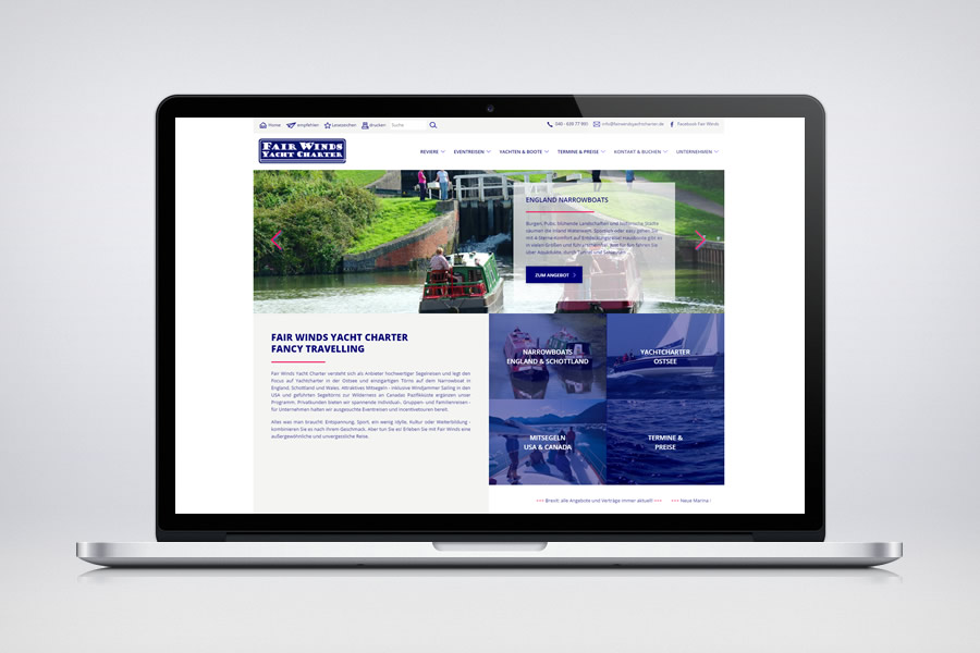 Fair Winds Yacht Charter - Responsive Contao Website